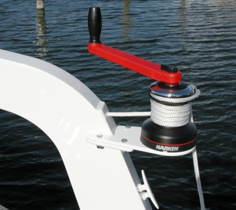 Close-up of winch on Voyager davit